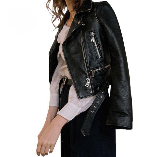 Women Autumn Winter Black Faux Leather Jackets Zipper Basic Coat Turn-down Collar Motor Biker Jacket With Belt 4