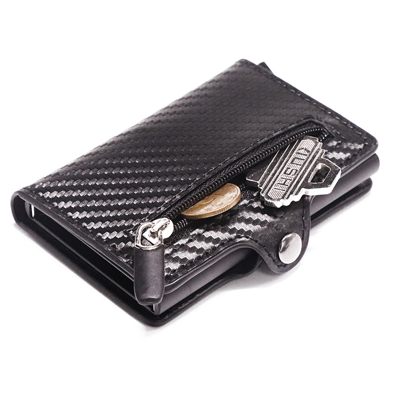 Slymaoyi  2019 New Credit Card Holder Aluminum Box Card Wallet RFID PU Leather Pop Up Card Case Magnet Carbon Fiber Coin Purse