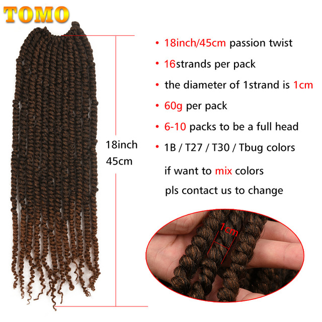 TOMO Bomb Twist Crochet Hair Synthetic 16Roots Spring Twist Pre Looped Crochet Braids Hair Extension Passion Twist for Women 4