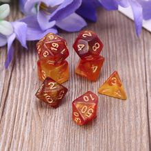 7pcs D20 Polyhedral Dice Glitter Double Colors 20 Sided Dices Table Board Game 652D
