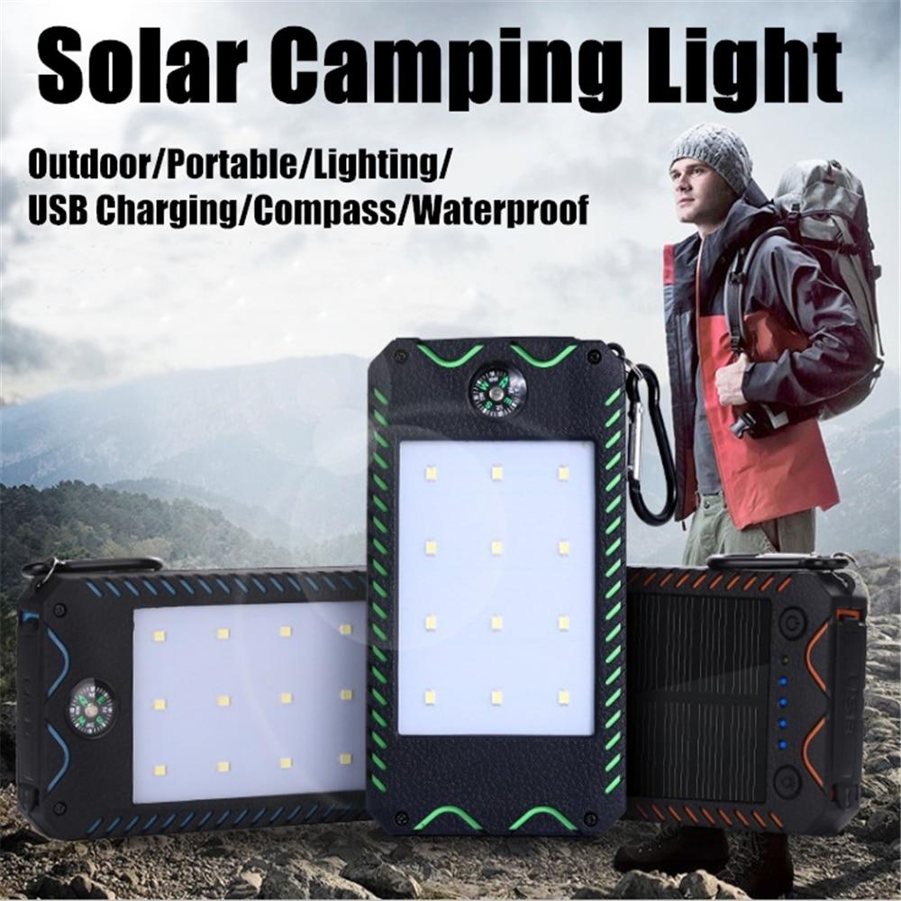 portatil led solar luz ao ar livre banco de energia solar 8000mah carregador usb duplo viagem