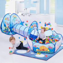 Ball Pool Playpen Crawling Tunnel Baby Kids Portable Children Yard 3-In-1 Tent Gift Rooom