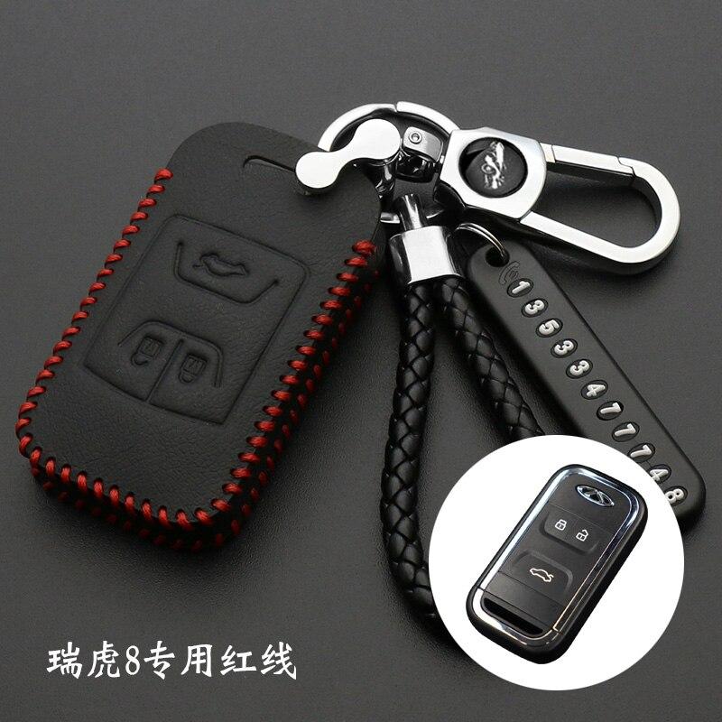 Leather Bag For Chery Tiggo Arrizo Smart Remote Key 3 Button Case Holder Car Interior Accessory(China)