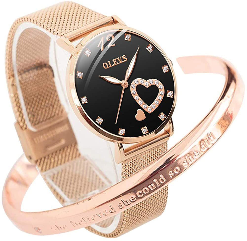 OLEVS Inspirational Gifts for Women Cuff Bracelet Rose Gold Bangle Stainless Steel Engraved Come Gift Box