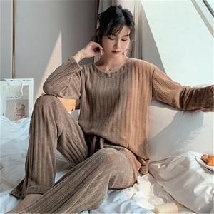 Image 4 - Julys Canzone Donna di Inverno Pigiama di Flanella Set di 2 Pezzi Pigiama Caldo di Spessore Degli Indumenti da Notte Donna Casual Homewear