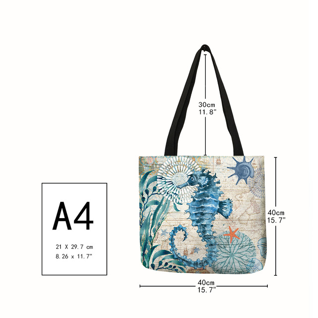 Customize Tote Bag Seahorse Turtle Octopus Pattern Traveling Shoulder Bags Eco Linen Shopping Bags For Women with Print 2