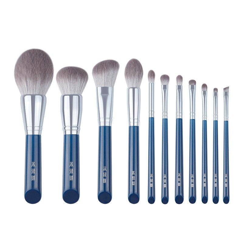 alta qualidade 11 pcs fibra macia pinceis de maquiagem conjunto fibra bionica artificial ferramentas beleza do