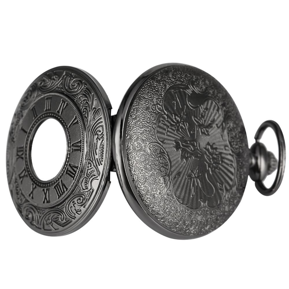 Купить с кэшбэком Antique Style Roman Numerals Pocket Watch Men Women Black Hollow Case Quartz Steampunk Vintage Pendant Necklace Gift cep saati