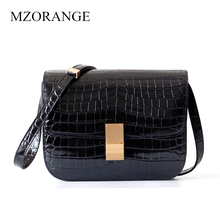 New Genuine Leather Women Bag Crocodile pattern Retro Design brand Lady Shoulder Tofu bag Diagonal package стоимость