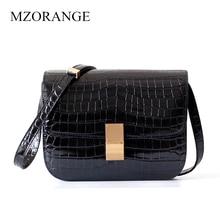 New Genuine Leather Women Bag Crocodile pattern Retro Design brand Lady Shoulder Tofu bag Diagonal package все цены