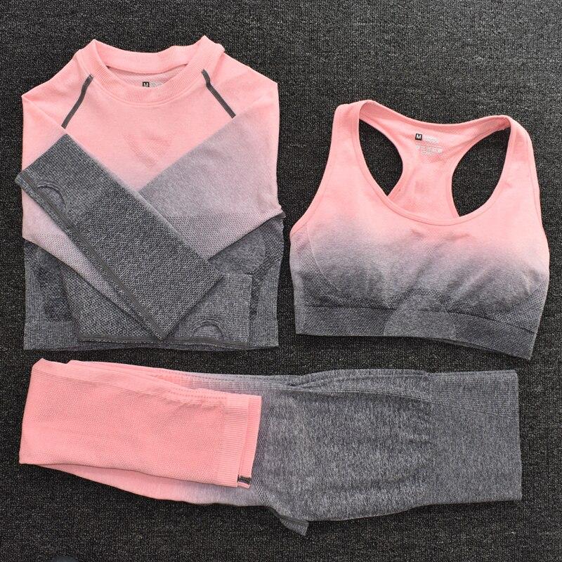 3pcsPink2 - Women's Sportwear Seamless Fitness Gradient Yoga Set