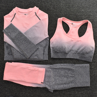 3pcsPink2 - Women's Sportwear Seamless Fitness Gradient Yoga Set