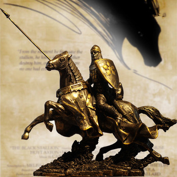 Ancient Roman Knights Statue European Retro Ornaments Character Middle Ages Armor Warrior Statue Home Decor Figurine Art X4217