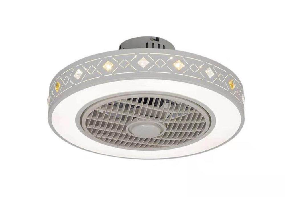 Moderno e minimalista bianco dipinto di ferro ventilatore a soffitto di cristallo di luce decorativa acrilica HA CONDOTTO l'illuminazione dimmerabile camera da letto lampada ventilatore AC220