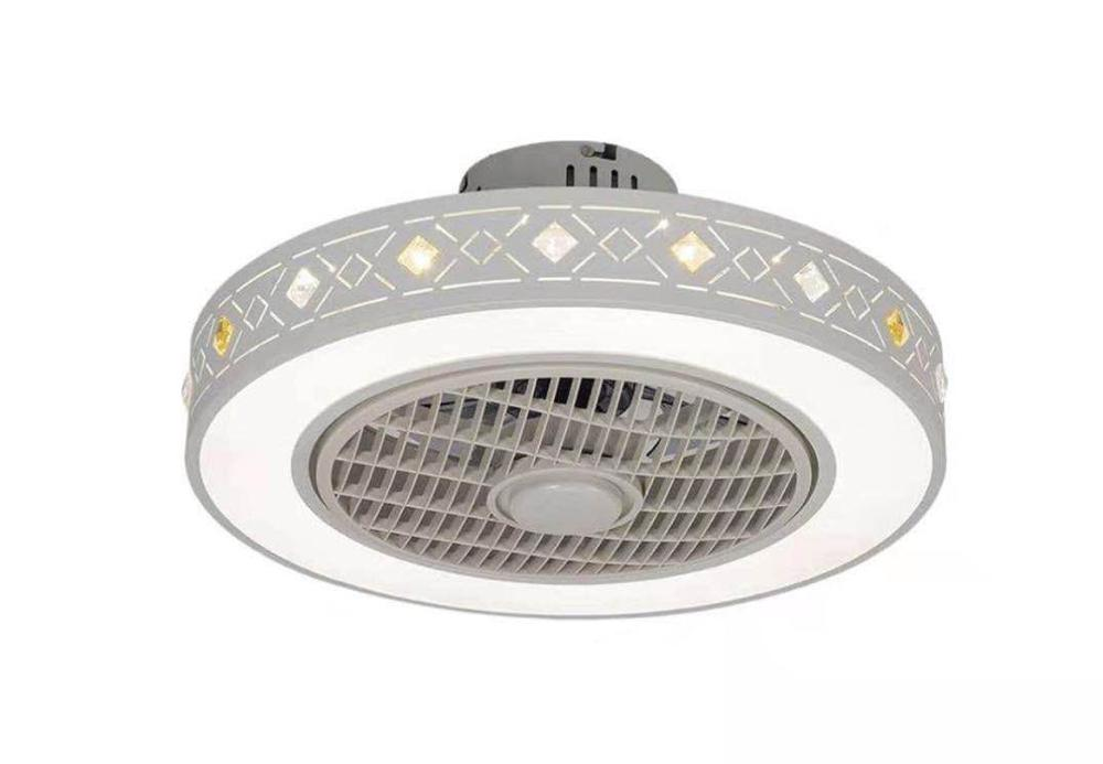 Moderno e minimalista branco pintado ferro ventilador de teto luz cristal decorativo acrílico led iluminação regulável quarto lâmpada fã ac220