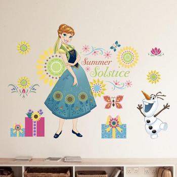 Cartoon Princess Elsa Wall Stickers for Kids Rooms Girls Bedroom Poster Vinyl DIY Mural Art Adesivo de parede Decal Baby Nursery 27