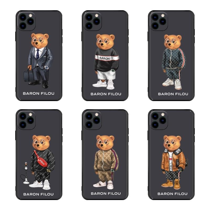 Cute BEAR Soft Case For Iphone 11 12 Pro Max Mini 7 8 6 6S Plus XR X XS MAX Se Silicone Phone Cover Fashion Brand Fundas Capa