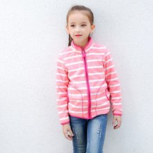Warm Soft Polar Fleece Striped Child Coat Baby Girls Jackets Windproof Children Outerwear Clothing Kids Outfits For 75-125cm цены