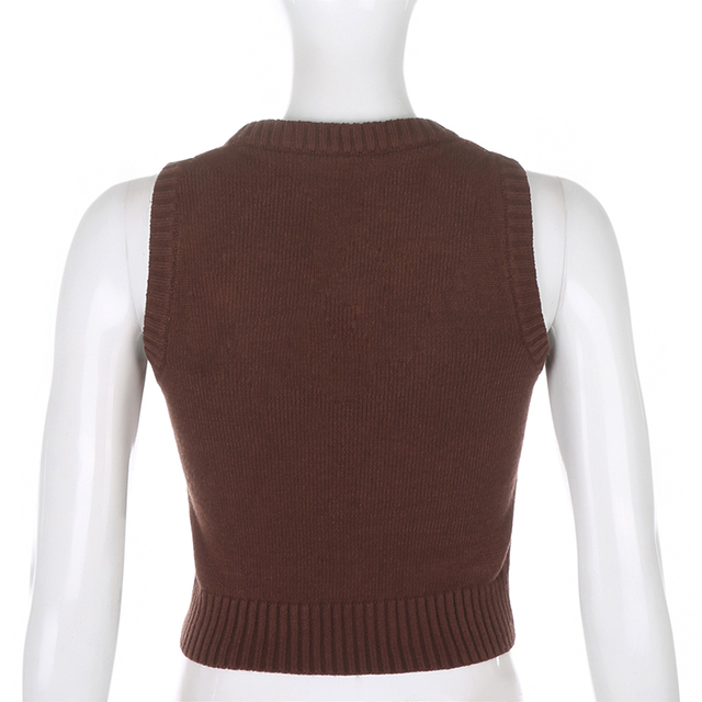 Vintage cropped sweater with brown patterns