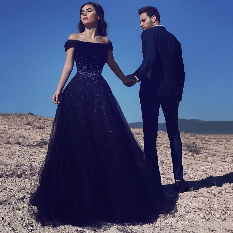 Eightree Off Shoulder Evening Dress Navy Blue Elegant Prom Dresses Saudi Arabic Formal Evening Gowns Lace Up Wedding Party Dress