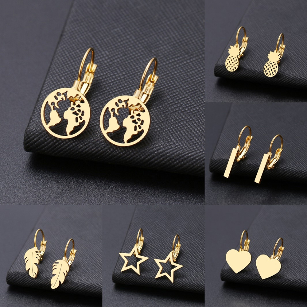 Fashion Earring World Map/Pineapple/Love Heart/Star Small Geometric Gift For Women Party Alentine's Day Stainless Steel Jewelry