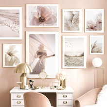 Sunset Girl Beach Birds Pink Wave Iris Flower Reed Nordic Poster Wall Art Print Canvas Painting Decor Pictures For Living Room