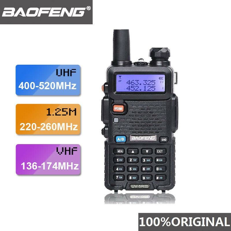 2019 baofeng UV-5R iii tri-band antena dupla walkie talkie vhf 136-174 mhz/220-260 mhz & uhf 400-520 mhz presunto scanner de rádio uv5r uv 5r