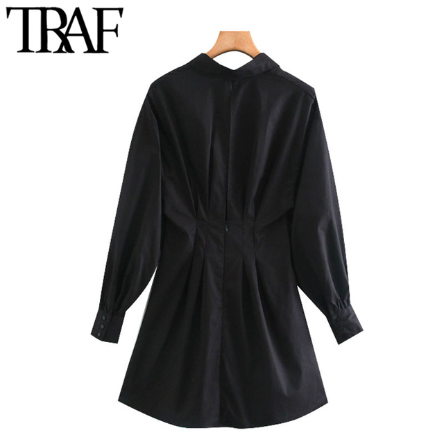 TRAF Women Chic Fashion With Drawstring Tied Pleated Mini Dress Vintage Long Sleeve Back Zipper Female Dresses Mujer 3