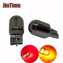 2 pçs w21/5w t20 7440 w21w 7443 12v21/5w 580 prata cromo âmbar vermelho amarelo lâmpada de vidro w3x16d carro cauda luz parada indicador