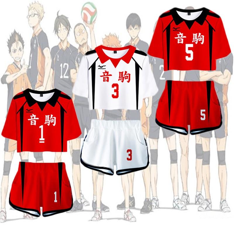Haikyuu Maillot de volley-ball Anime Volleyball Club Lyc/ée Tracktuits Manga Haikyuu Manches Courtes T-Shirt et Shorts Ensemble 2 Pi/èces