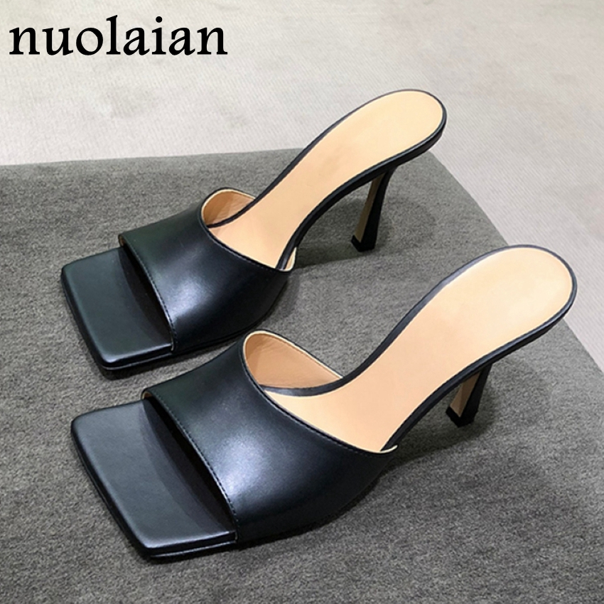 9CM Square Toe Shoes Womens Summer High Heel Shoes Black Leather Spring Pump Shoes Women Sandals Ladies High Heels Pumps Shoe