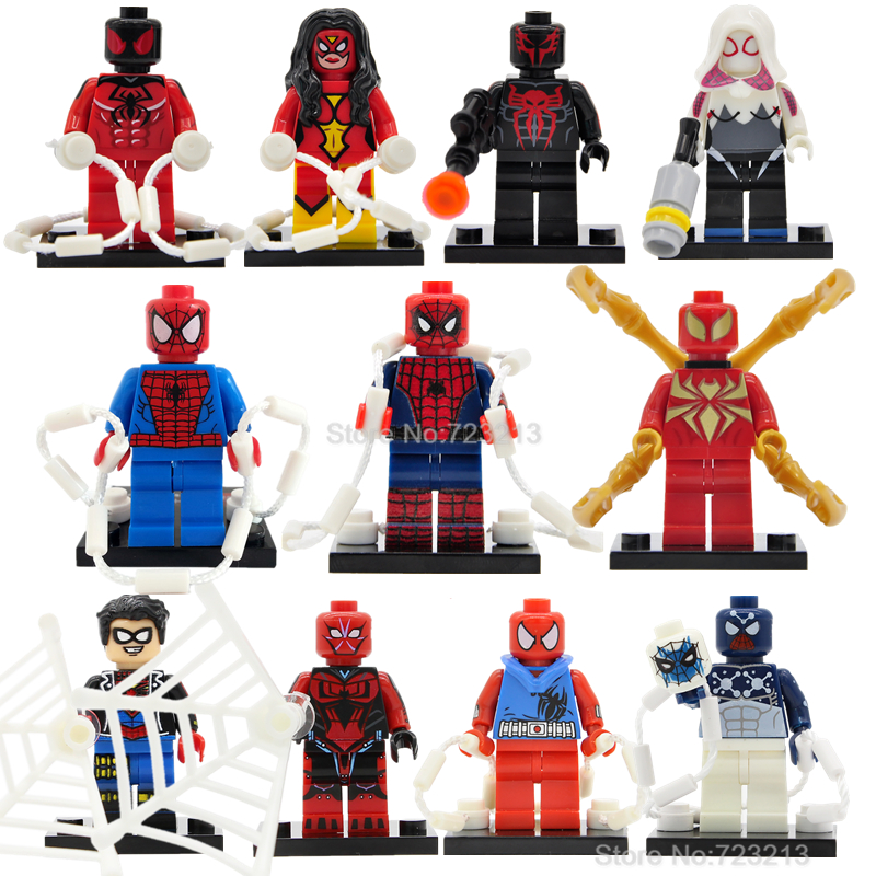 Iron Superior The Amazing Spider-Man Gwen Single Figure Scarlet Spider Man 2099 Woman Building Blocks Super Hero Toys Legoing