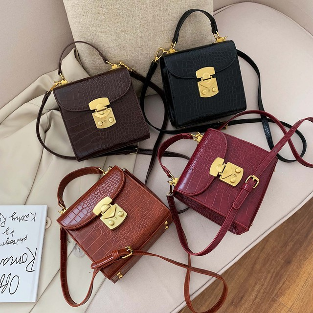 Mini Stone Pattern PU Leather Crossbody Bags For Women 2019 Lock Designer Shoulder Messenger Bag Female Travel Handbags 4