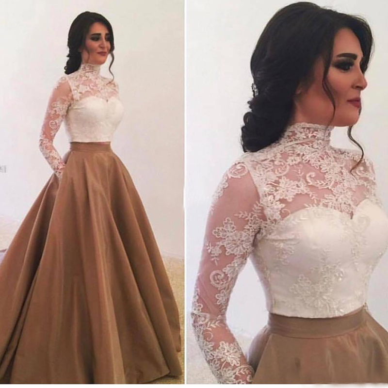 Long Sleeve Arabic Evening Dress Dubai High Neck Lace Kaftan Abiye Formal Evening Gown Wedding Guest Dress Elegant Prom Dresses