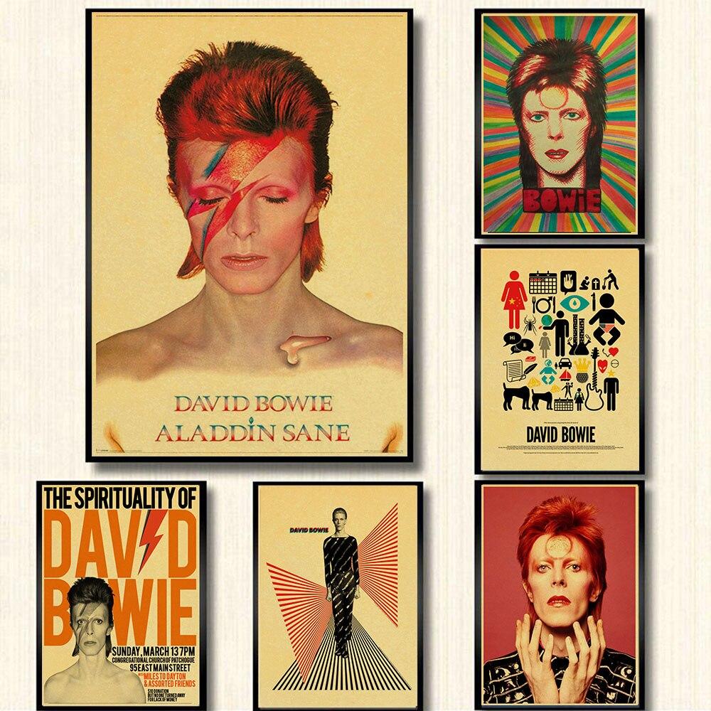David Bowie Ностальгия Ретро Рок-Группа Музыка крафт-бумага постер Бар Кафе гостиная столовая стена декоративные картины