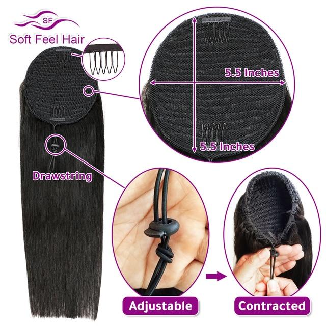 Оберните вокруг и шнурок конский хвост человеческие волосы мягкие на ощупь волосы Remy на заколках для наращивания бразильские Прямые конски...