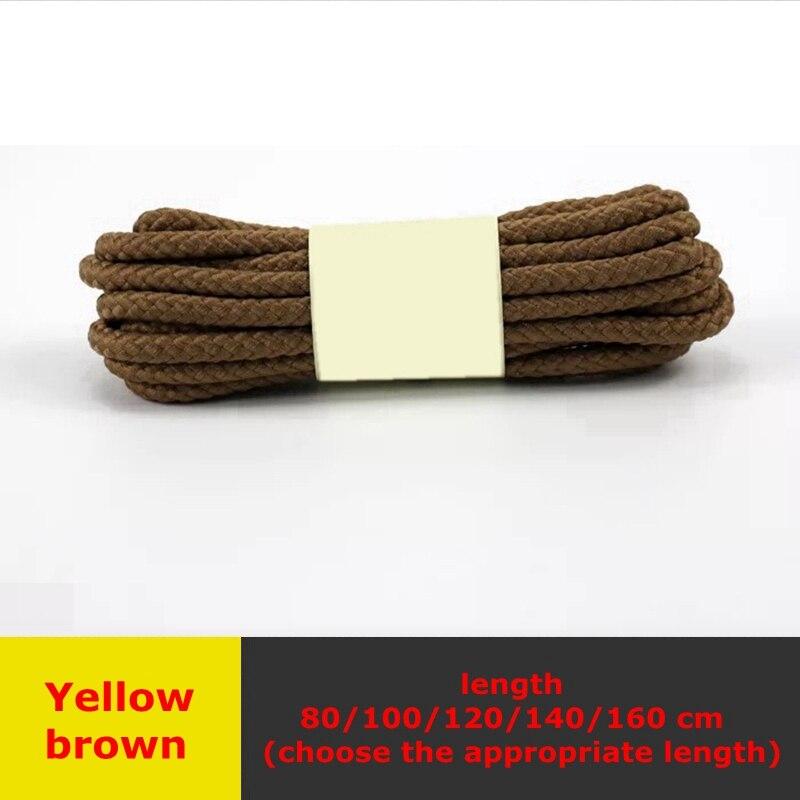 1 пара классические круглые шнурки Уличная обувь для прогулок на шнурках с белой высокой плотностью ткацкие кроссовки для отдыха шнурки унисекс - Цвет: Yellow brown