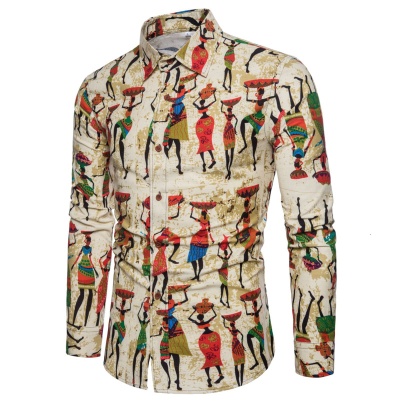 Africa Dress Shirt Man Leisure Blouse Cotton Long Sleeve Shirt Flax Shirt African Retro Pattern Printing Camisa Blusa Masculina
