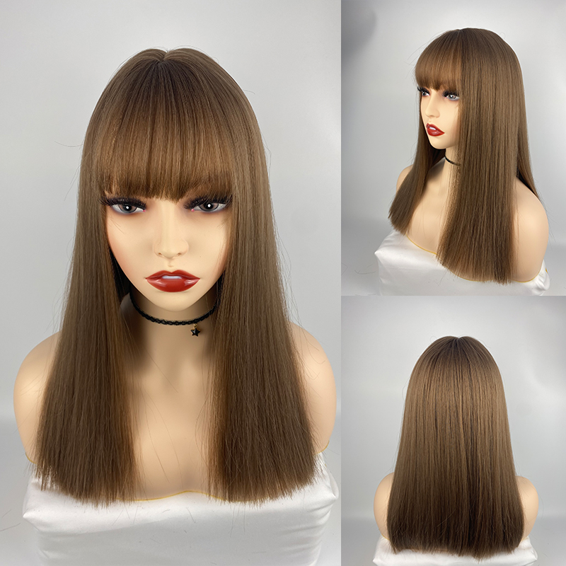 Cosplay Meduim Straight Wigs Synthetic Wigs for Women Daily Party Heat Resistant Fibre Wigs