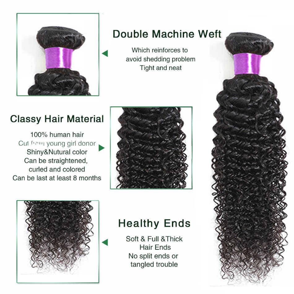 Liddy encaracolado pacotes com fechamento cabelo brasileiro 3 pacotes com fechamento 100% cabelo humano cor natural não remy extensões de cabelo