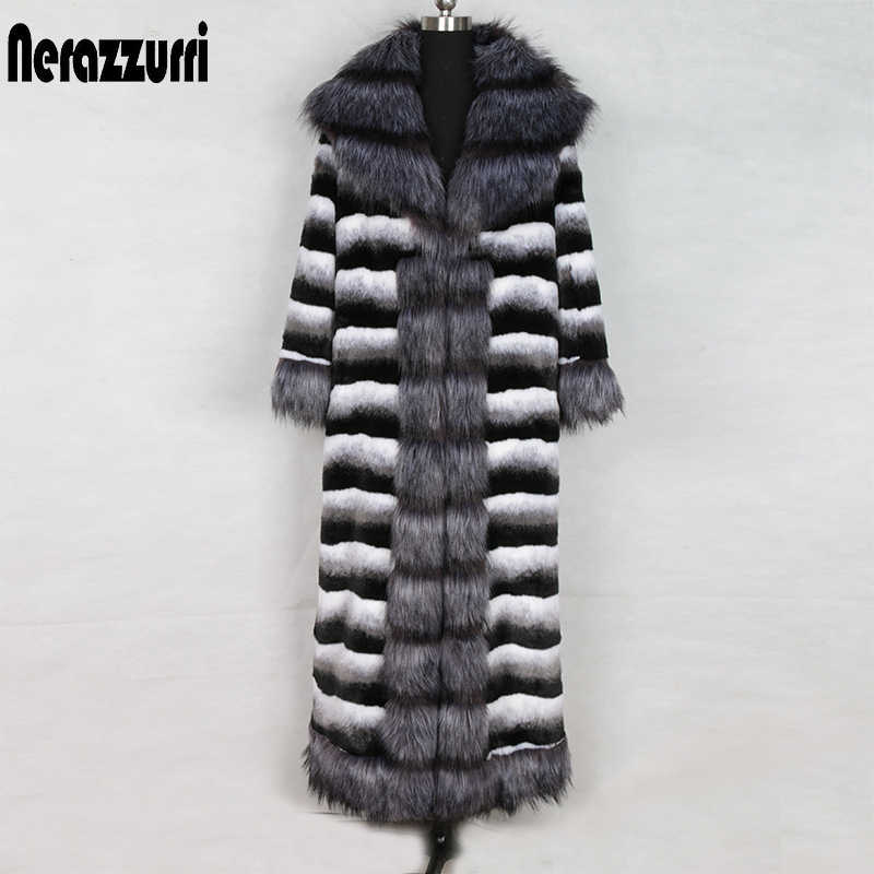 Nerazzurri Winter extra long chinchilla fur coat with fox fur trim long sleeve warm big size british style faux fur coat 5xl 6xl