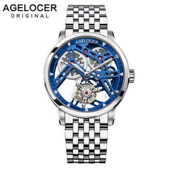 AGELOCER Tourbillon Watches Automatic Mechanical Watch Men Blue Skeleton Steel Bracelet Clock Casual Wrist Watch Relojes Hombre