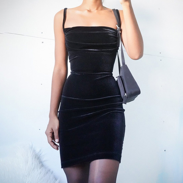 WannaThis Black Velvet Spaghetti Strap Dress Front Ruched Mini Skinny Sleeveless Off Shoulder Women Fashion Elegant  Party Dress 3