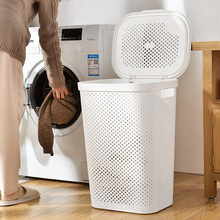 Большая ротанговая корзина для грязной одежды, пластиковая корзина для белья, корзина для хранения в ванной, синяя корзина для грязной одежды