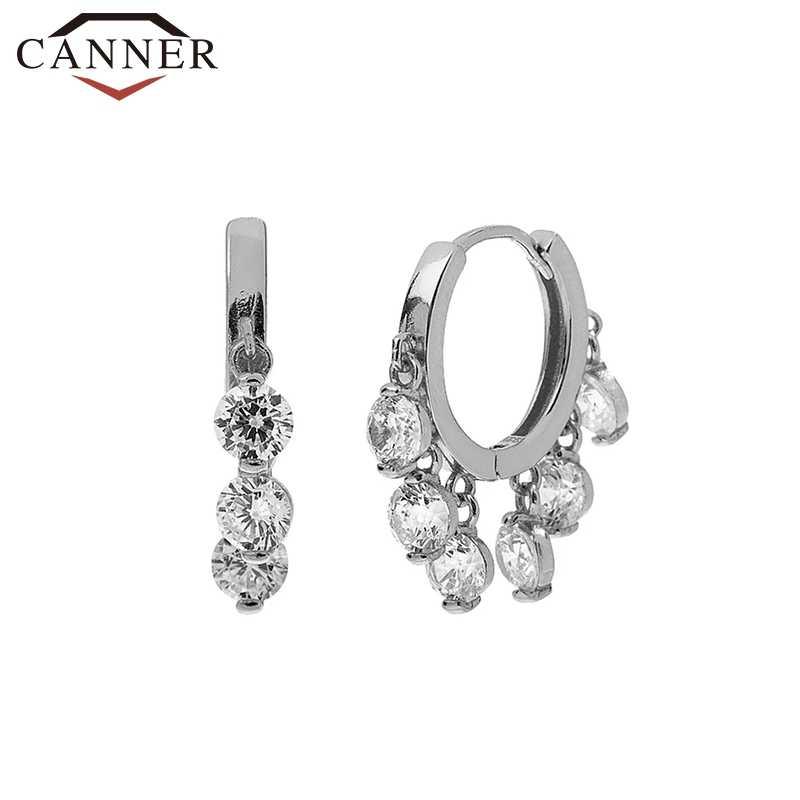 CANNER 2020 럭셔리 지르콘 후프 귀걸이 925 스털링 실버 서클 라운드 Huggie 후프 귀걸이 여성 패션 Earings Brincos