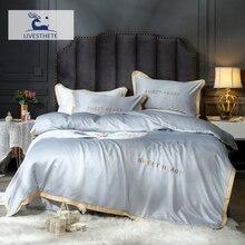 Liv-Esthete Luxury 100% Mulberry Silk Silver Gray Bedding Set Silky Duvet Cover Healthy Skin Pillowcase Flat Sheet Bed Linen