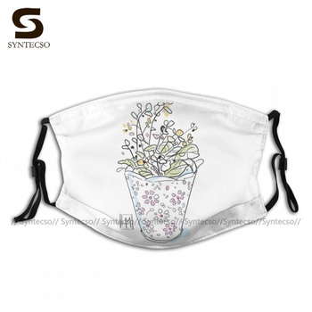 Unisex Fantasy A Small Floral Vase Of Flowers Facial Mask Breathing Luxury Bike Cloth Face Mouth Mask With Filters