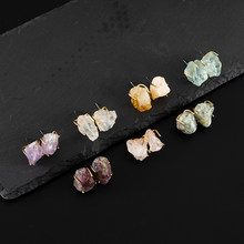 Jaeeyin 2020 Earrings Natural Rose Stone Crystal Mineral Raw Pink Stone Vintage Gold Color Geometric StatementAccessory Gift