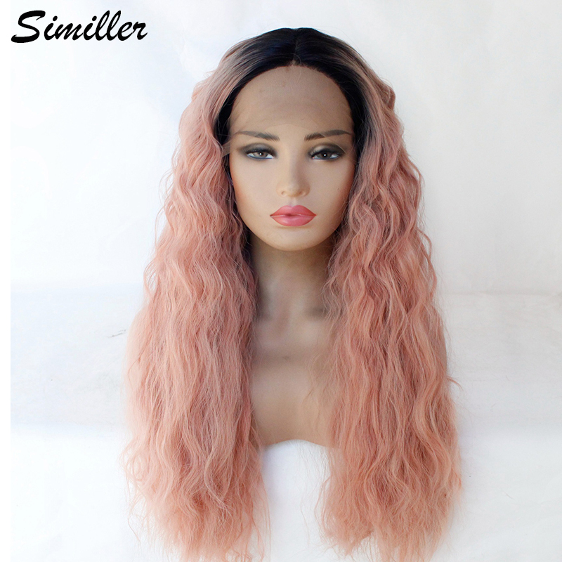 Similler Curly Synthetic 13*3 Lace Front Wig Black Ombre Pink Heat Resistant Fiber Natural Hairline Long Women Wigs