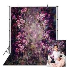 Dunne Vinyl Pasgeboren Baby Lente Paars Bloemen Fotografie Achtergrond Fantasie Bloemen Douane Fotostudio Foto Achtergronden Prop